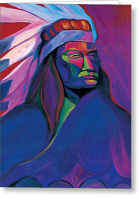 Colorful Indian Chief Greeting Cards - Native American Pink and Green Greeting Card by Mike Lawrence