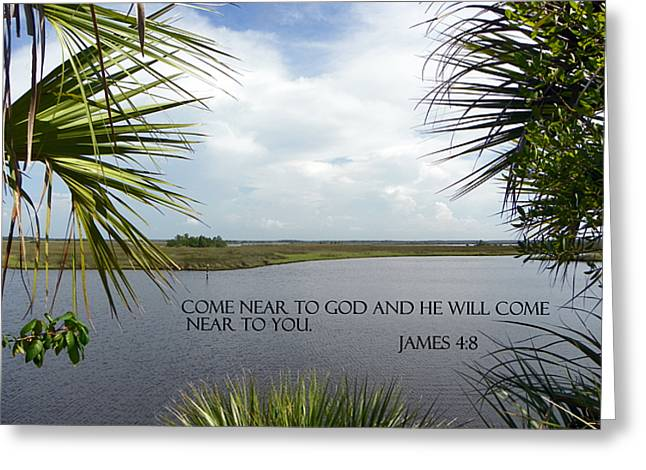 Bible Scripture Canvas Greeting Cards - Near to God Greeting Card by Sheri McLeroy