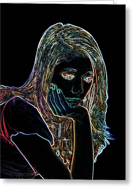 One Person Digital Greeting Cards - Neon Contemplation Greeting Card by Betty LaRue