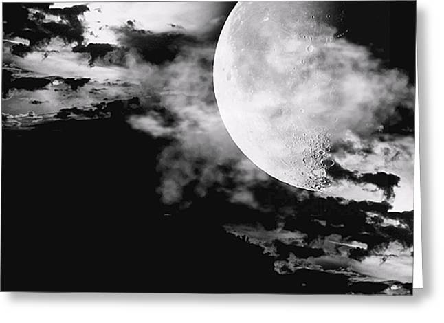 Moon Greeting Cards - Night Greeting Card by Lourry Legarde