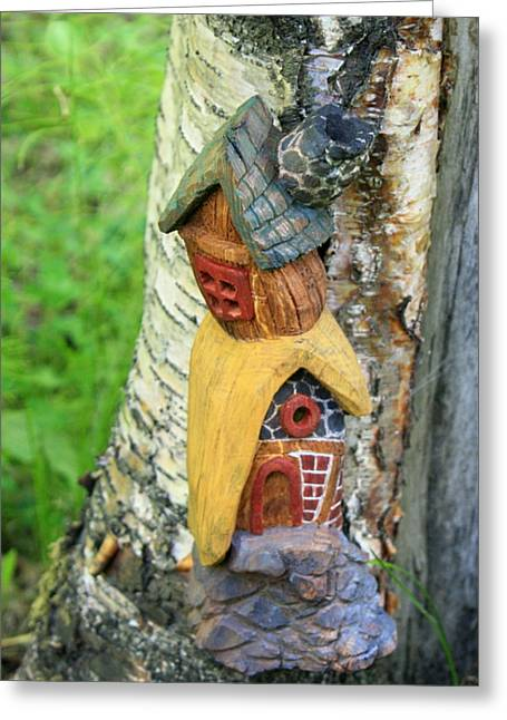 Fairies Sculptures Greeting Cards - No Place like Gnome Home III Greeting Card by Eric Knowlton