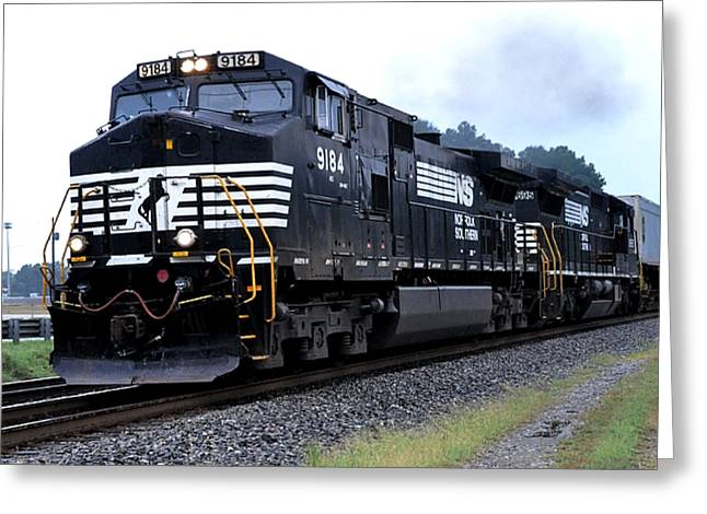 Norfolk Greeting Cards - Norfolk Southern 9184 Through Stockbridge Georgia Greeting Card by John Black