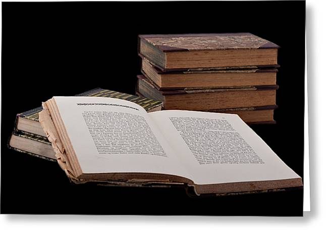 Words Background Greeting Cards - Old Books Greeting Card by Gert Lavsen