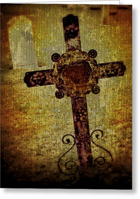 Grave Yard Greeting Cards - Old Cross Greeting Card by Perry Webster