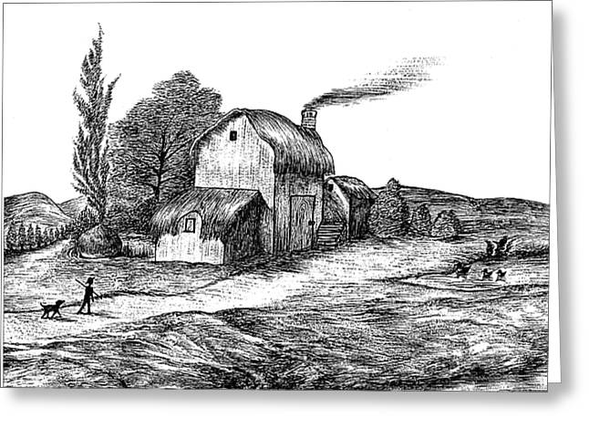 Thatch Drawings Greeting Cards - Old English Cottage Drawing Greeting Card by Evelyn Sichrovsky