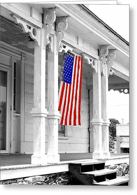 Julian Bralley Greeting Cards - Old Glory BW Greeting Card by Julian Bralley