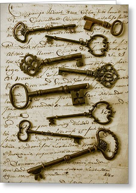 Unlock Greeting Cards - Old keys on letter Greeting Card by Garry Gay