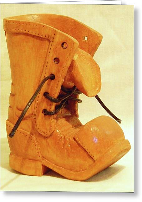 Boots Sculptures Greeting Cards - Old Tall Work Boot Greeting Card by Russell Ellingsworth
