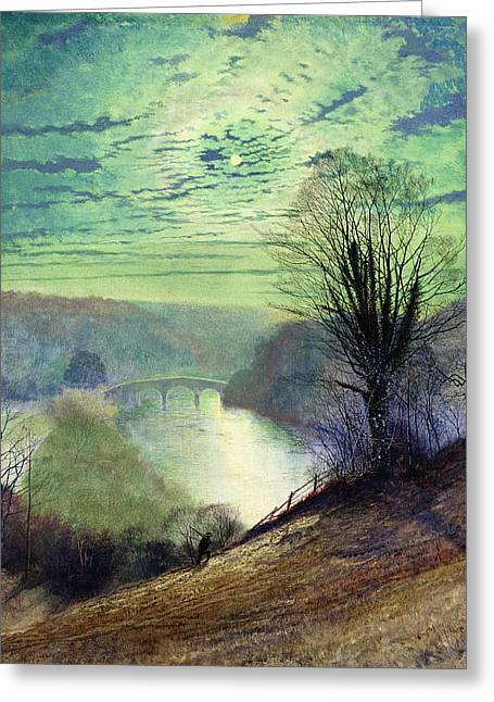 Grimshaw; John Atkinson (1836-93) Greeting Cards - On the Tees near Barnard Castle Greeting Card by John Atkinson Grimshaw