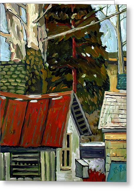 Pull Paintings Greeting Cards - On Top Of Spring Street Greeting Card by Charlie Spear