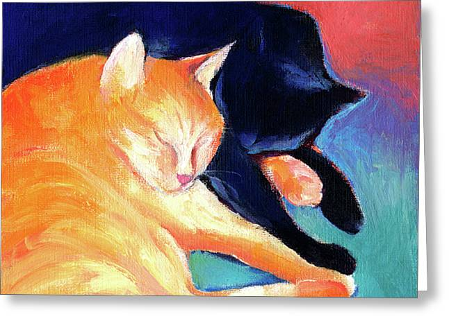 Pet Greeting Cards - Orange and Black tabby cats sleeping Greeting Card by Svetlana Novikova