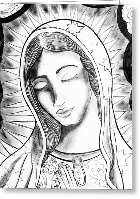 Virgin Mary Drawings Greeting Cards - Our Lady Greeting Card by Jeffrey Kyker