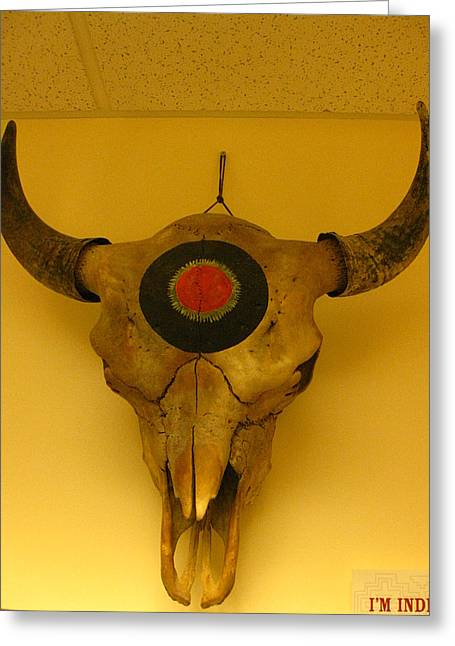 Stream Sculptures Greeting Cards - Painted Bison Skull Greeting Card by Austen Brauker