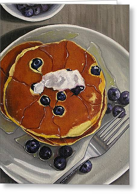 Vicini Greeting Cards - Pancakes and Blueberries Greeting Card by Vic Vicini