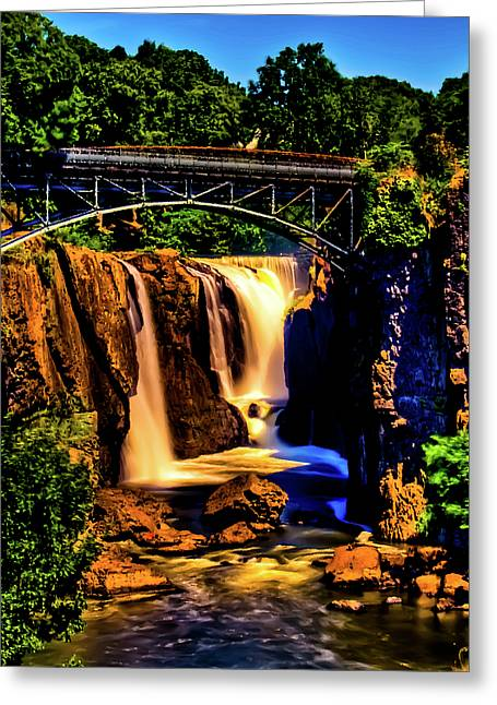 """great Falls"" Greeting Cards - Patersons Great Falls III Greeting Card by David Hahn"