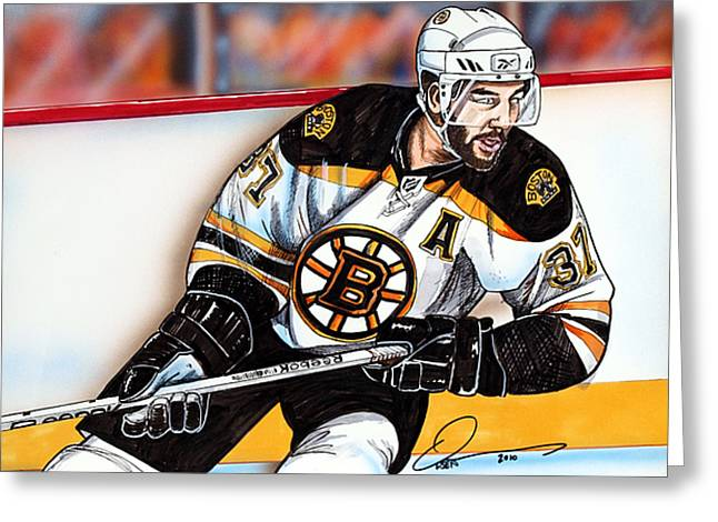 Nhl Hockey Drawings Greeting Cards - Patrice Bergeron Greeting Card by Dave Olsen