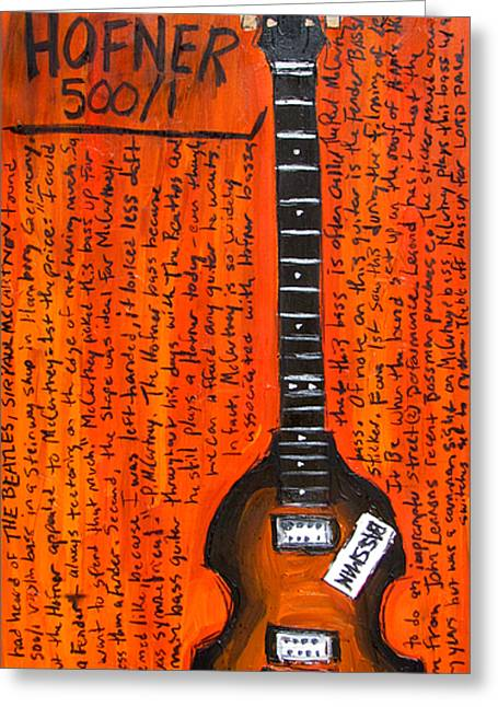 Fab Greeting Cards - Paul McCartney Hofner bass Greeting Card by Karl Haglund