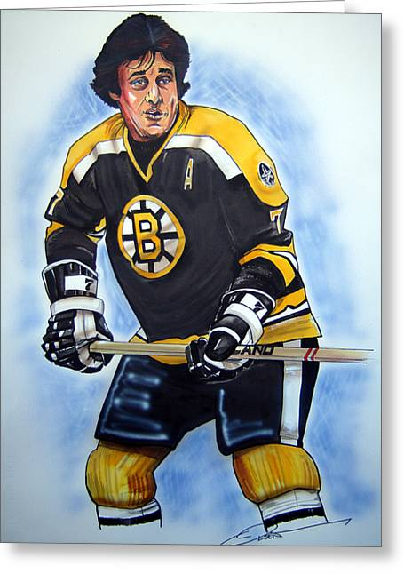 Nhl Hockey Drawings Greeting Cards - Phil Esposito Greeting Card by Dave Olsen