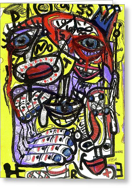 Basquiat Greeting Cards - Picasso Has Left The Building Greeting Card by Robert Wolverton Jr