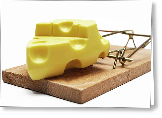 Swiss Cheese Greeting Cards - Piece of cheese in mouse trap Greeting Card by Sami Sarkis