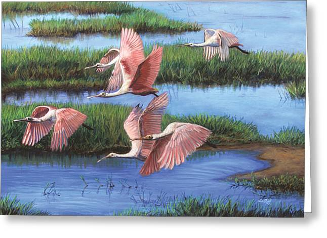Wetlands Pastels Greeting Cards - Pink Wings over the Everglades Greeting Card by Deb LaFogg-Docherty