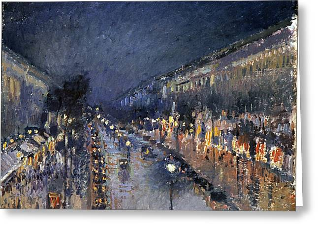The Restricted Greeting Cards - Pissarro: Paris At Night Greeting Card by Granger