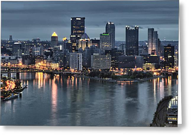 Pittsburgh Greeting Cards - Pittsburgh Skyline 2 Greeting Card by Wade Aiken