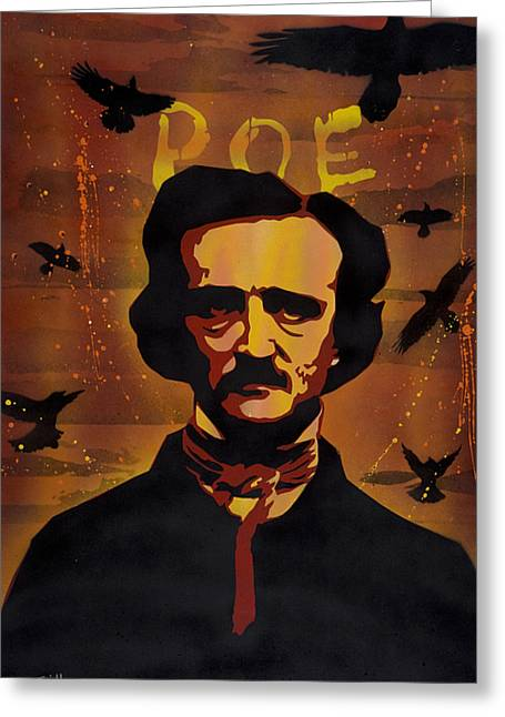 Aerosol Paintings Greeting Cards - Poe Greeting Card by Iosua Tai Taeoalii