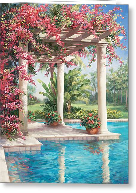 Poolside Garden Greeting Card by Laurie Hein