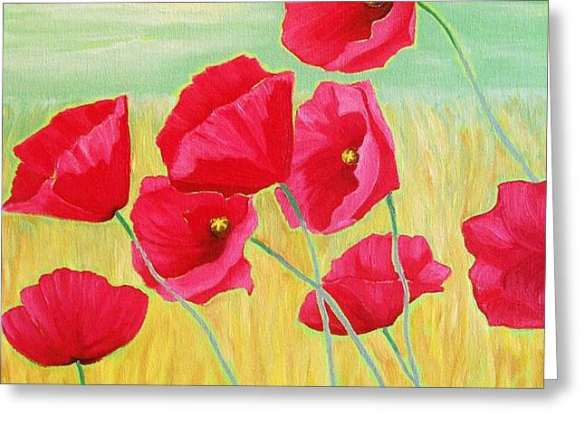 Pop Pop Poppies Greeting Card by Rivkah Singh