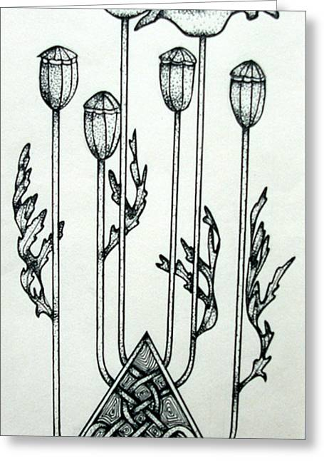 Stigma Drawings Greeting Cards - Poppies Greeting Card by Helen Carson