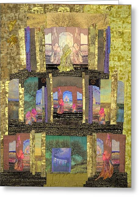 Bright Colors Tapestries - Textiles Greeting Cards - Prayers for Peace Greeting Card by Roberta Baker