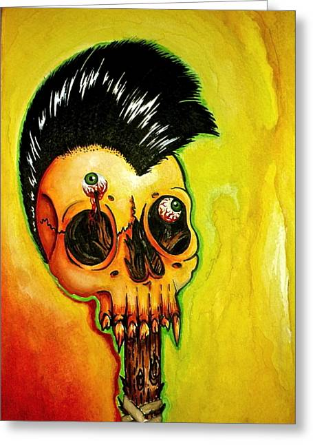 Megadeth Greeting Cards - Punk Rock Skull Greeting Card by Elaine Alonzo