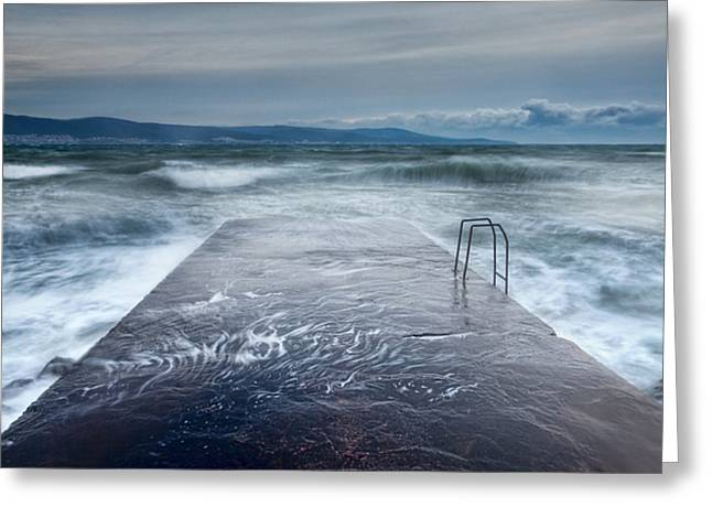 Seascape. Winter Greeting Cards - Raging Sea Greeting Card by Evgeni Dinev