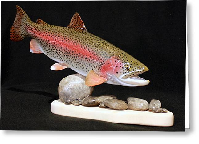 Salmon Sculptures Greeting Cards - Rainbow Trout on the Rocks Greeting Card by Eric Knowlton