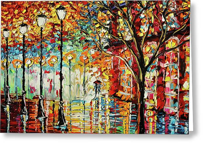 Oil Lamp Greeting Cards - Rainy Night Oil Painting - Confetti Rain Greeting Card by Beata Sasik