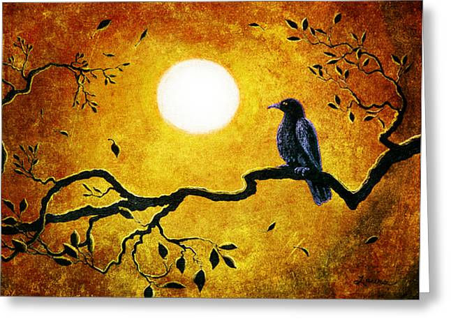 Crow Art Greeting Cards - Raven in Golden Splendor Greeting Card by Laura Iverson