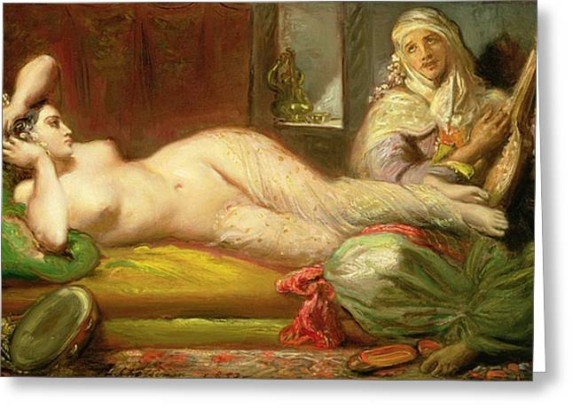 Chaise Greeting Cards - Reclining Odalisque Greeting Card by Theodore Chasseriau