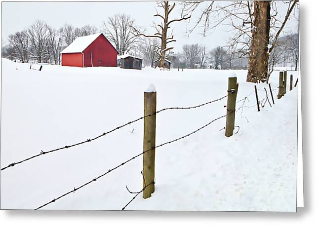 Rural Indiana Greeting Cards - Red Barn and Fresh Snow - D006392a Greeting Card by Daniel Dempster