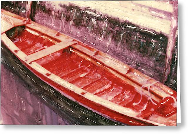 Red Canoe Greeting Card by Linda Scharck