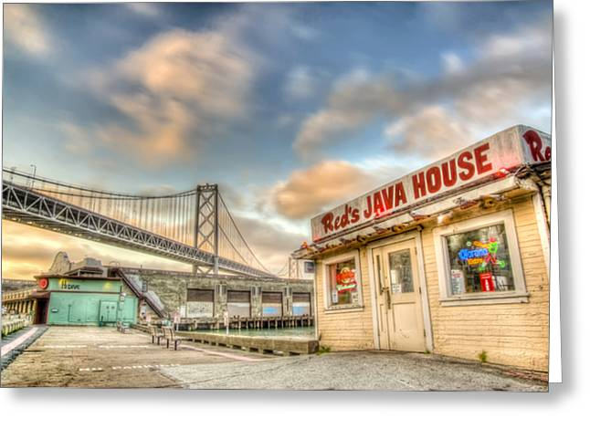Bay Bridge Greeting Cards - Reds and the Bay Bridge Greeting Card by Scott Norris