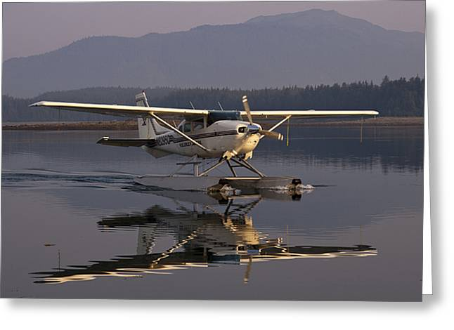 Floatplane Greeting Cards - Reflections of a Float Plane Greeting Card by Darcy Michaelchuk