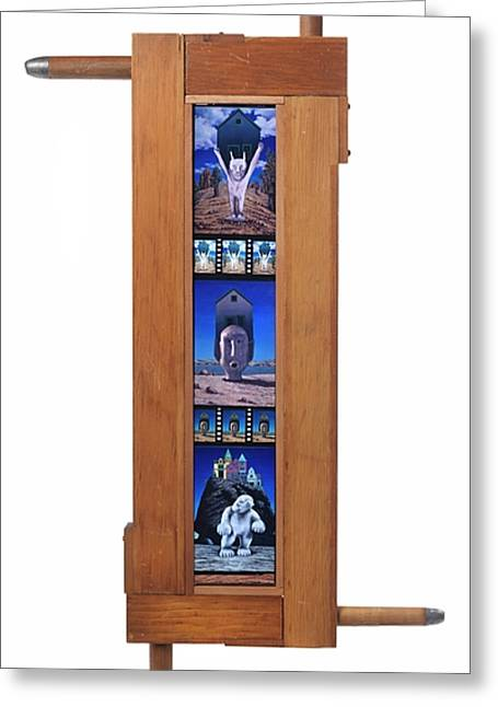 Intuited Greeting Cards - Reliquaries - wooden organ pipe frame  Greeting Card by Jacqueline Moses