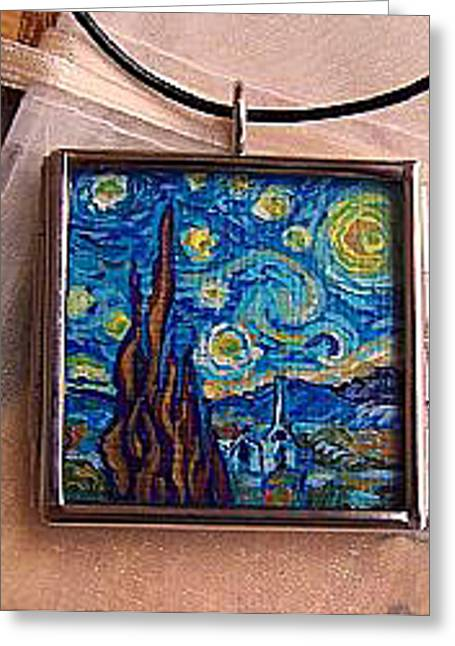 Acrylic Art Jewelry Greeting Cards - Rendition of Starry Night 2 Greeting Card by Dana Marie