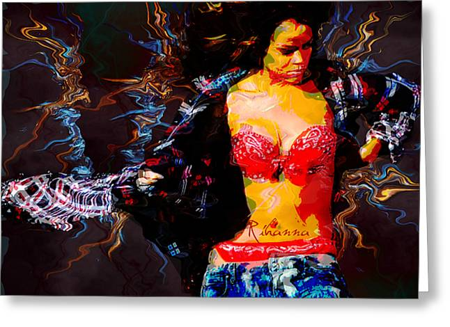 Rihanna Abstract By Gbs Greeting Card by Anibal Diaz