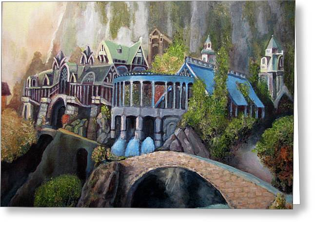 Knights Castle Paintings Greeting Cards - Rivendell Greeting Card by Eel Eye