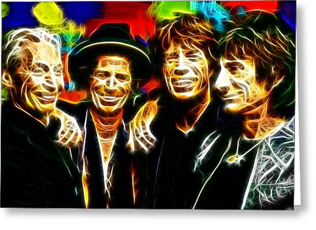 Musicians Mixed Media Greeting Cards - Rolling Stones Mystical Greeting Card by Paul Van Scott