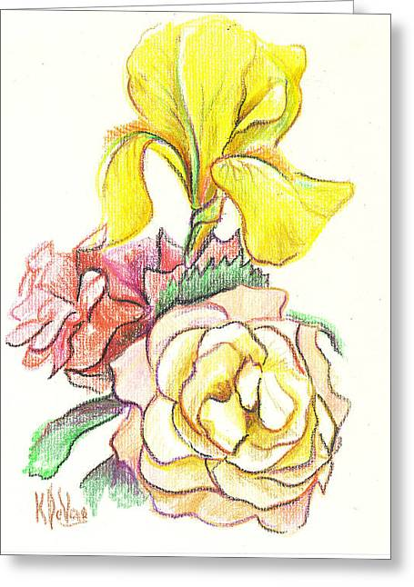 Romance Mixed Media Greeting Cards - Roses with Yellow Iris Greeting Card by Kip DeVore