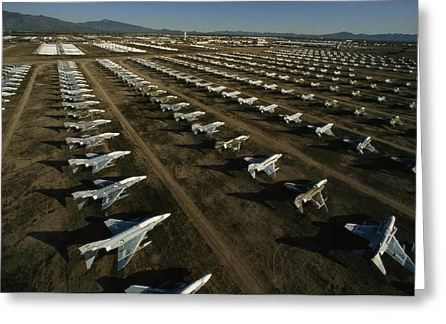 Rows Of Fighter Jets In Storage Greeting Card by Paul Chesley