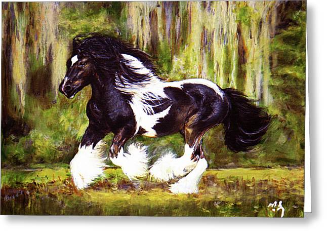 Custom Horse Portrait Greeting Cards - Runner Greeting Card by Sun Sohovich